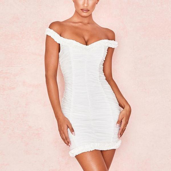 New Summer Women Sexy Pleated Bag Hips Neck Collar Short Skirt High Waist Dress White S-XL