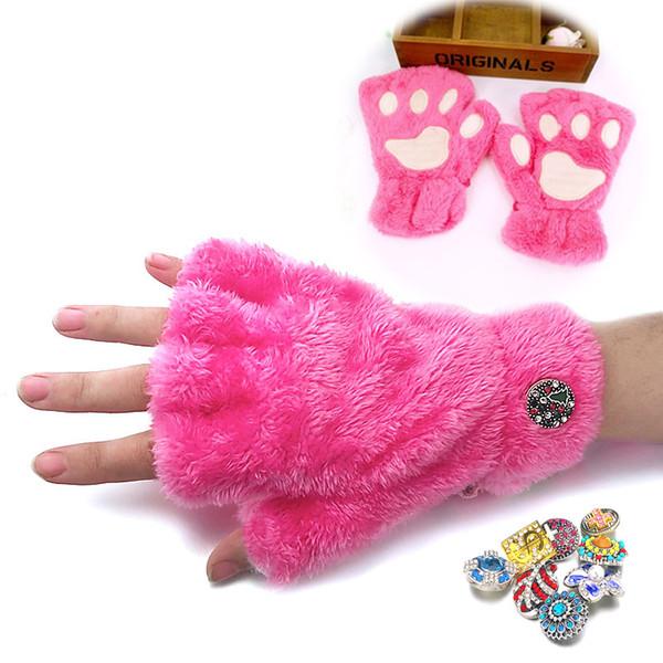 Cat Paw Inverno Guanti senza dita 021 Fit 18 millimetri Snap Button incanta gli accessori dei monili per le donne adolescenti Ragazze regalo di Natale