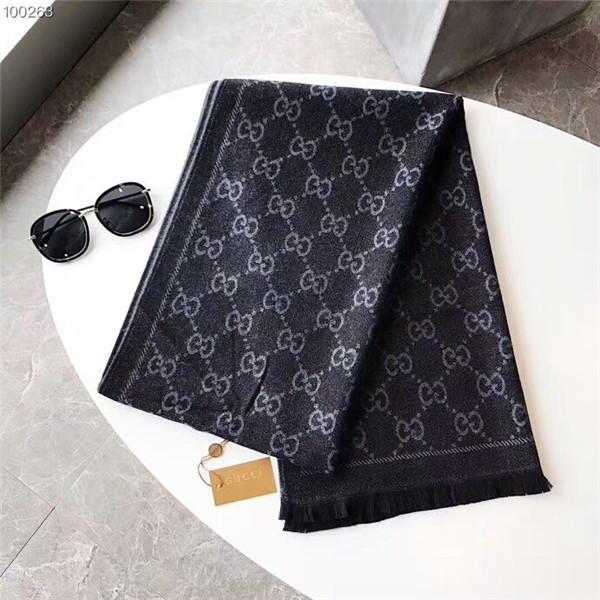 2018 Классический высококачественный унисекс осенне-зимний шерстяной шарф марки простой дизайн монограмма размер 180 * 30 см шарф