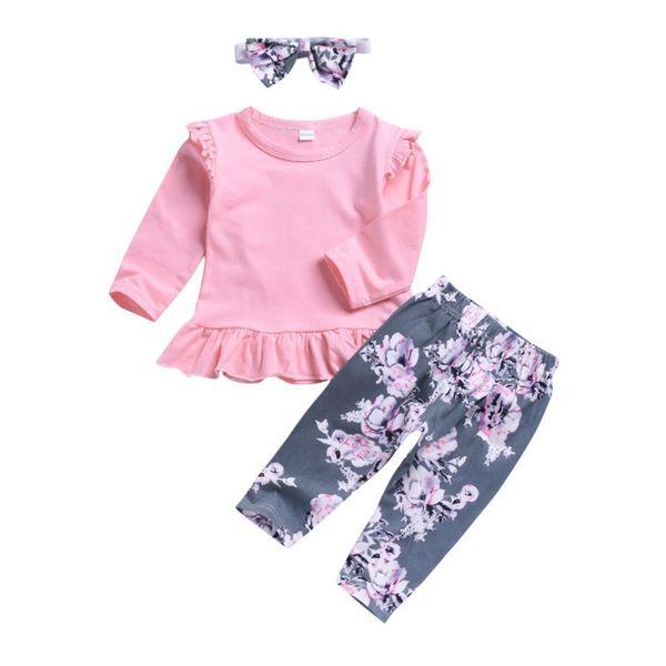 Bebê Menina Roupas Rosa Plissado Meninas T Shirt Floral Calças Headband 3 PCS Define de Manga Longa Da Menina Da Criança Roupas de Verão Roupas de Bebê DHW3700