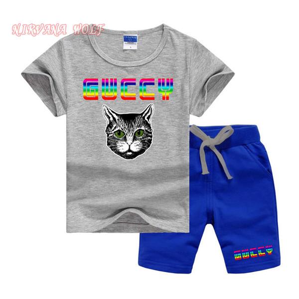 Cat Luxury Designer Baby Boys Summer Sport Toddler Clothing Set Kids Cartoon T Shirts + Shorts Pantalones 2 piezas Ropa Conjuntos de chándal 2 -7 años