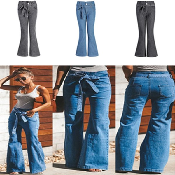Women Flared Jeans High Strength Wide Leg Flare Jeans Bellbottoms Plus Size S-4XL with Belt Fashion Long Pants Trousers for Autumn Spring