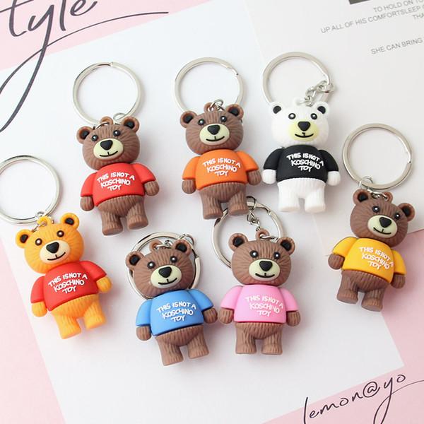 Fashion Cartoon Brown Bear Doll Toy Car Key Chain for Handbag Bag Pendant Keyring for Woman Man Birthday Gift
