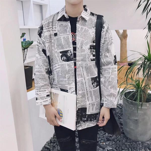 Mistura de algodão Casual Tops Manga Longa Moda Jornal Impressão Menino Emenda Quadrado Pescoço Camisas Dos Homens Roupa Masculina Primavera Slim Fit