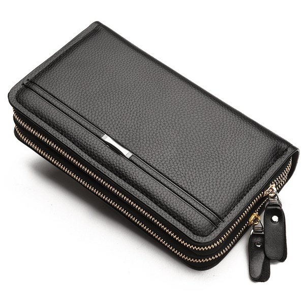 leather men wallet PU material high quality 2017 new double zipper purses and wallets gifts for men