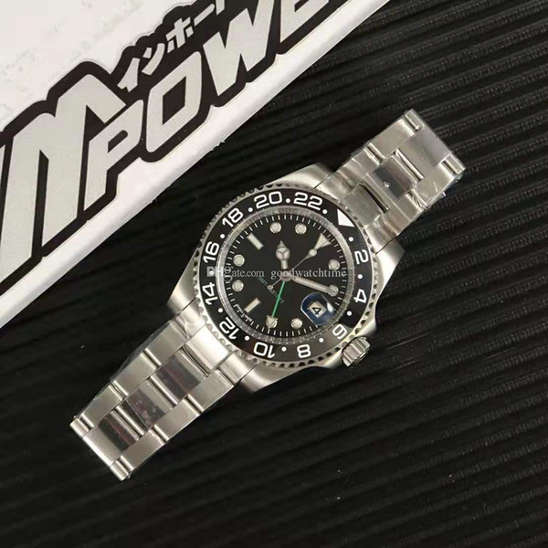 Alta qualidade de luxo Mens Relógios Gents 40 milímetros GMT II relógios automáticos 904L Stainless Steel Cola anel de cerâmica Mestre Relogio N saco de embalagem