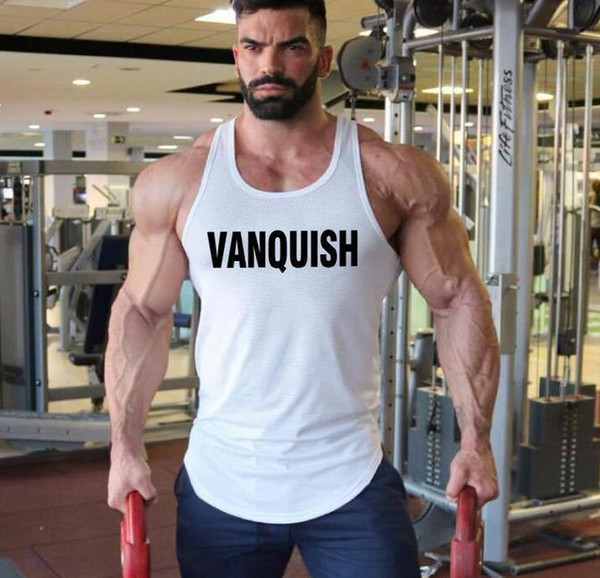 top popular 2019 GYM vest VANQUISH letters mesh breathable bodybuilding vest men's round hem mesh sport quick-drying sleeveless T-shirt 2019