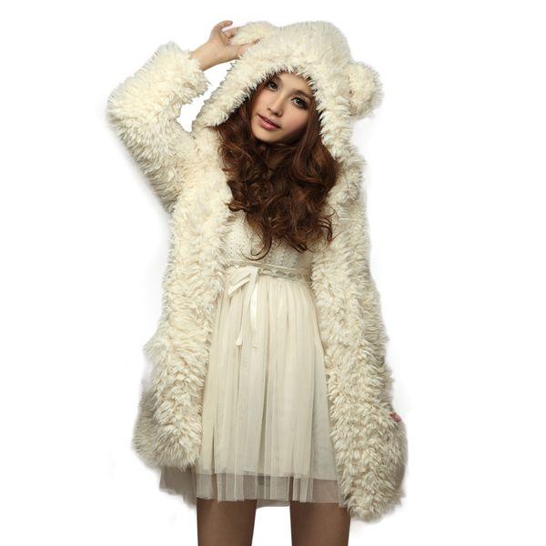 Girls Ladies Fashion Sweet Bear Ear Hooded Artificial Fleece Lovely Furry Coat Cardigan Trench Coat Outerwear