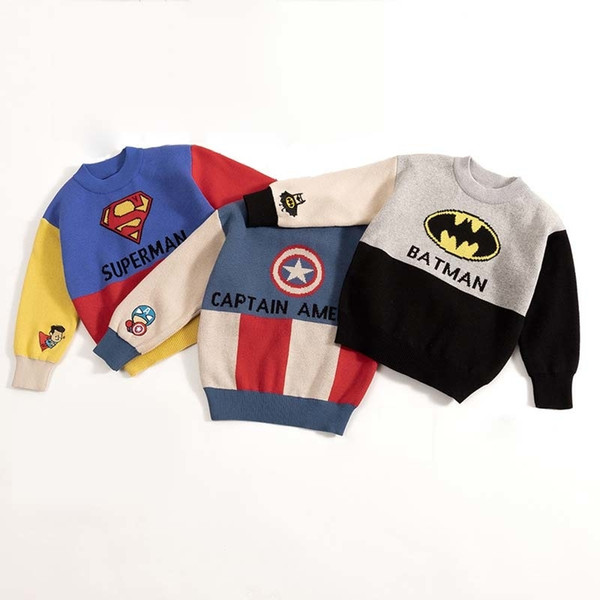 Kids Boys Cartoon Sweaters Casual Children Knit Autumn Warm Pullover Sweater For Boy Toddler Long Sleeve Wear Appliques Clothes SH190907
