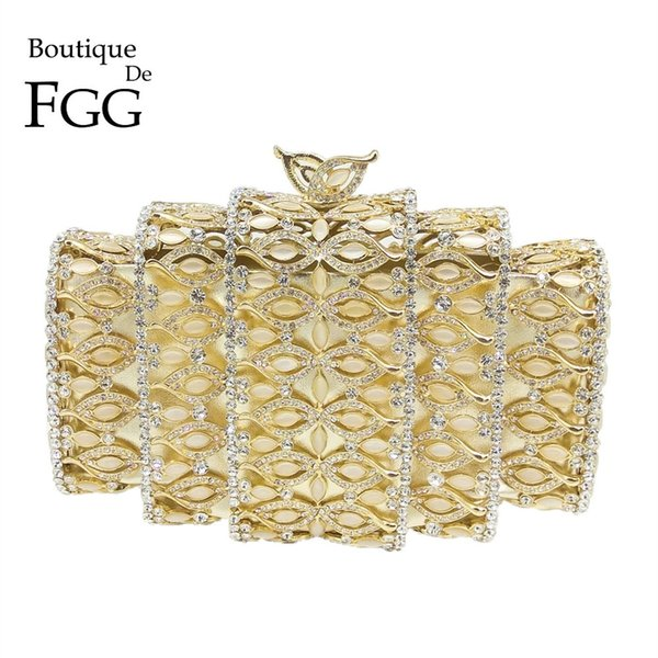 Boutique De FGG Dazzling Gold Crystal Women Evening Bags Hollow Out Stones Beaded Wedding Clutch Bridal Diamond Minaudiere Purse #88937