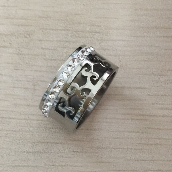 High quality punk luxury silver 316 Titanium Steel 18K white gold plated flower crystal hollow wide 10mm love wedding band ring men women