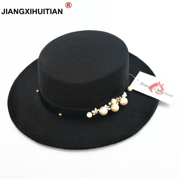 2017 new pearl chapeau femme Vintage fashionable black top felt fedora hat men sombrero bowler church trilby hats for women D19011102