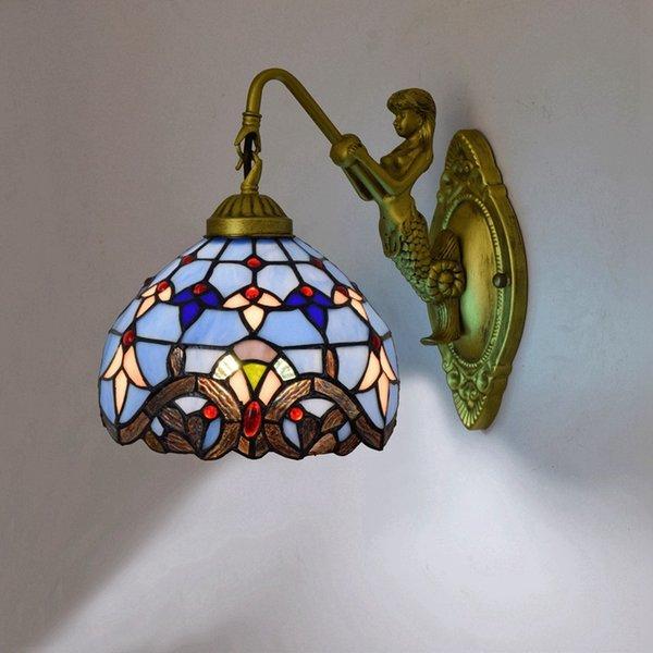 Acheter Vitrail Applique 41 Baroque Murales Vintage Bar Tiffanylamp Style Bleu Lampes Du De Européen En Pour Chambre Restaurant80 Murale IWEDH29