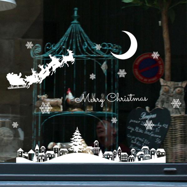 Acquista Fai Da Te Adesivi Murali Di Neve Bianca Adesivi Vetri Finestre Decalcomanie Rimovibili Adesivi Di Natale Capodanno Decorazioni Natalizie A40