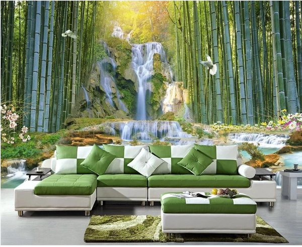 modern living room wallpapers Bamboo forest waterfall water park 3d landscape background wall