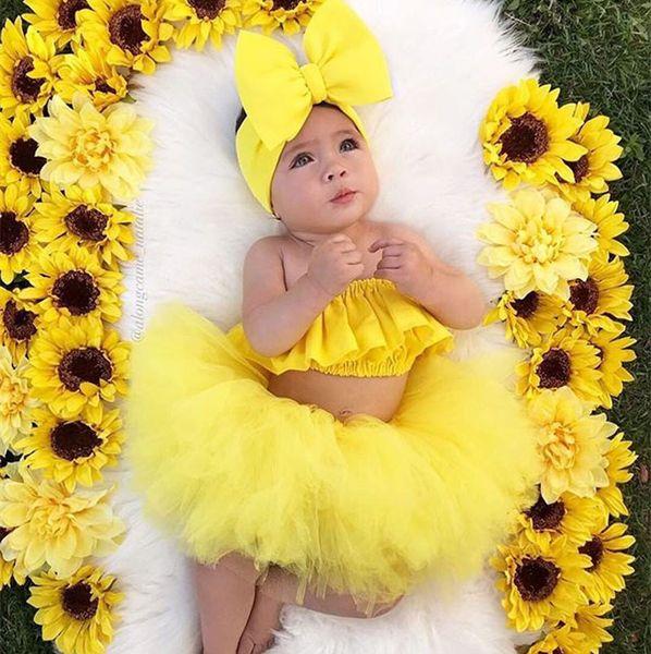 Abbigliamento per bambini Neonate Set di vestiti per neonati Moda Estate Abiti estivi Fasce per capelli di Bowknot + Top + Gonne Set di 3 pezzi Vestiti di cotone per bambini