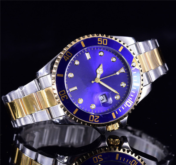 New Fashion brand men watches Luxury Calendar Quartz Watches Gold Dial Calendar Gold Bracelet Folding Clasp Diamond Watch Male michael