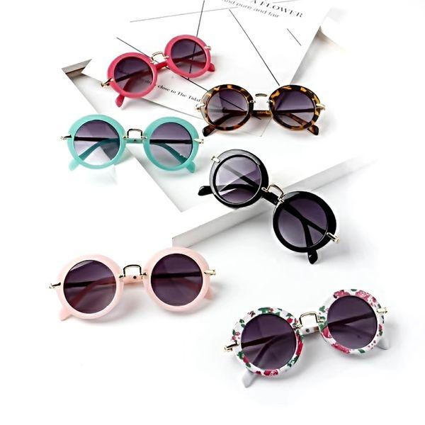 Niños gafas de sol con montura redonda para niños lindos para exteriores Travrel Montura de metal Retro Estampado de flores Gafas para sombrillas TTA1118