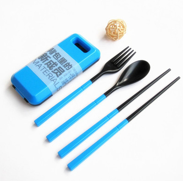 Portable Tableware Sets With Folding Combination Dinerware Tableware Kitchen Tools 3pcs/set Chopstick Spoon Fork