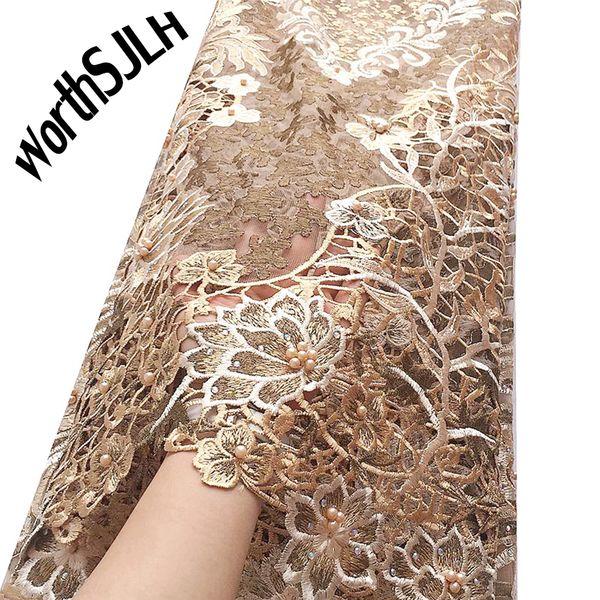 Золото Африканский Шнур Кружевной Ткани Водорастворимые Свадебное Платье Кружева Материал Камни 2020 Высокое Качество Нигерийский Гипюр Кружевной Ткани