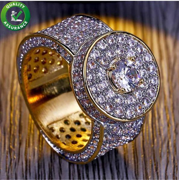 Hip Hop Schmuck Herren Gold Ringe Luxus Designer Iced Out CZ Diamant Ring Bling Band Pinky Fingerring für Männer Engagement Hochzeit Zubehör