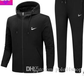top popular 18SS new Tracksuit mens sports suits gym running 2 piece set men track suit Fitness jogging suit men Bodybuilding sportswear 2019