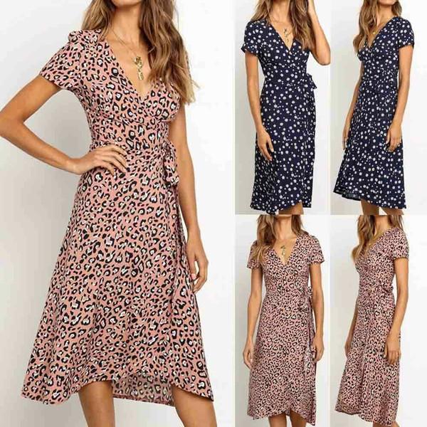 Women Summer Beach Short Sleeve V-Neck Midi Dress Ladies Leopard Print Evening Party Sexy Dresses Sundress