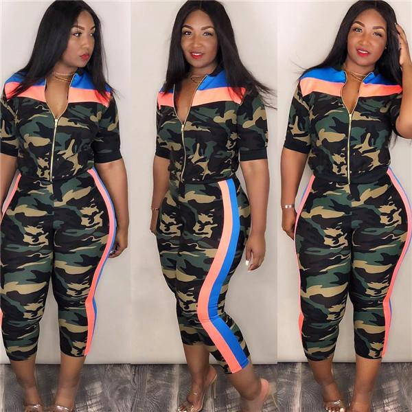 Women Clubwear Dace wear Uniform Cosplay Sequins Outfit Stage Costume 3 Piece Set Performance Camouflage Jacket Pants Bra Show Dance Wear