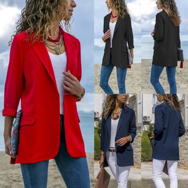 Women Solid Color Suit Jackets Fashion Slim Womens Casual Suits Jacket Long Sleeve Women Long Jacket Plus Size Jackets Size S-3XL