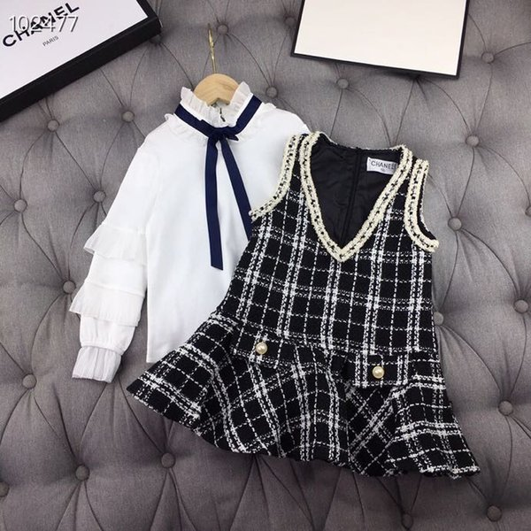Big girl Princess 2PCS sets White shirts+plaid dress Autumn teenager fashion Sweet outfits children retail clothes