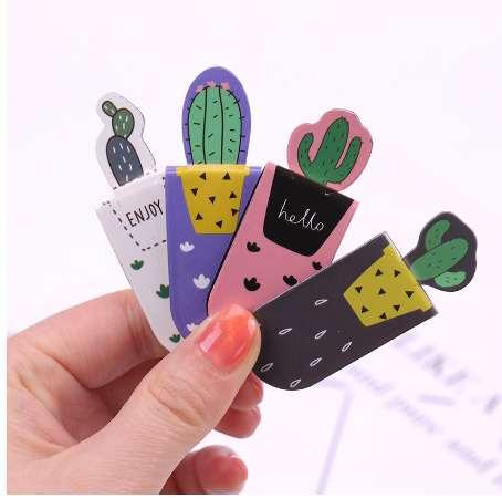 3pcs/lot DIY Kawaii Cactus Magnetic Bookmark Cute Multifunctional Office School Stationery Supplies papelaria teacher gift 01459