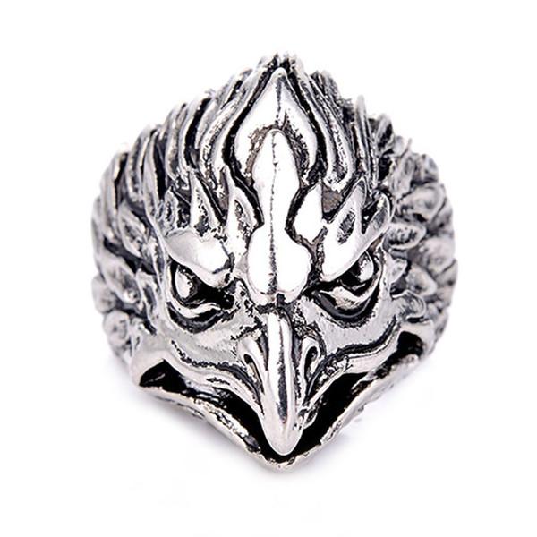 Unisex Men's Retro Vintage Silver Gothic Eagle Head Rings Animal Design Silver Biker Ring Hip-pop Jewelry