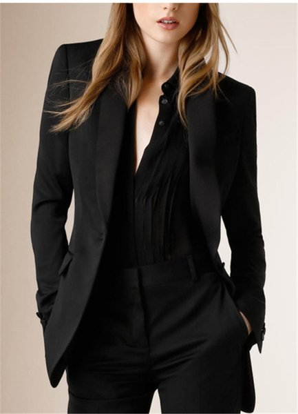 2019 Hot Selling Shawl Collar One Button Black Custome Made Women Suits New Arrival High Quality Fashion SexyBusiness Suits