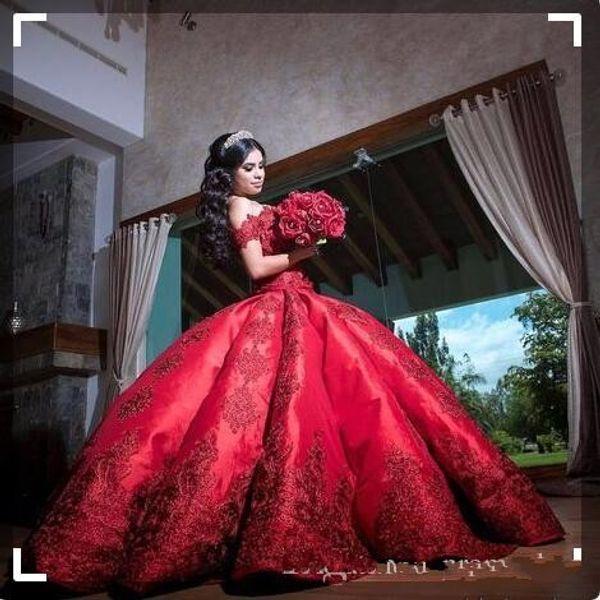 Barato vestido de baile vermelho quinceanera vestidos para meninas cetim off ombro apliques longo sweet 16 vestidos de baile vestidos formais
