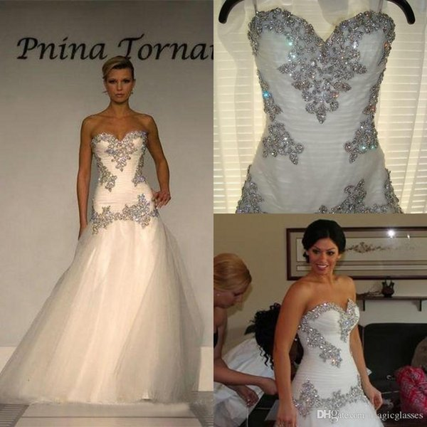 Luxury 2017 Tulle Sweetheart Mermaid Wedding Dresses Pnina Tornai Cheap Beaded Crystal Long Bridal Gowns Custom Made China