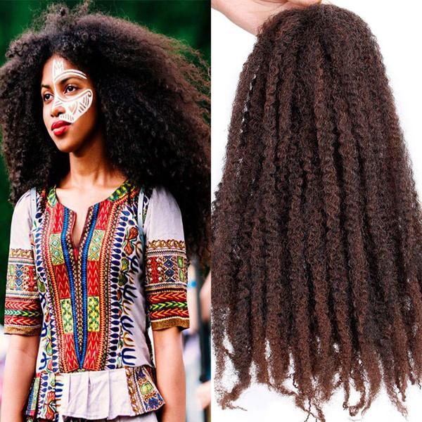 6 Unids Cabeza Completa 18 '' Afro Marely Trenzas Cabello Giro Ganchillo Trenzas Cabello Rizo Crochet Trenzado Sintético Pelo 100 g / pieza Para Moda mujer