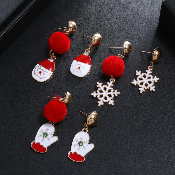Guantes de copo de nieve Rojo Verde Colgante Bola de pelo Celebración Pendientes de Navidad Personalidad festiva Regalos lindos Joyería creativa