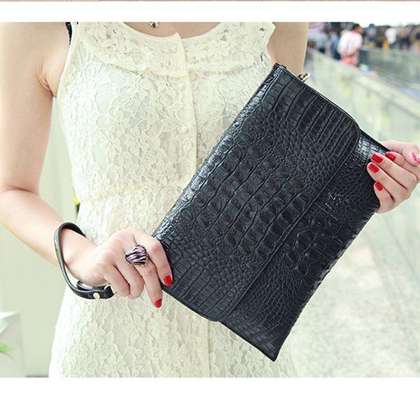 Women Clutch Bags Vintage COW Leather Crocodile Pattern Envelope Shoulder Ladies Small Messenger Handbag Female Gift designer tote Best Sale