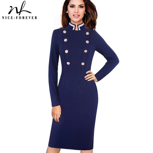 f0f9298ffb4a1 Nice Forever Vintage Long Sleeve Solid Color Stand Collar Double Breasted  Button Vestidos Business Work Bodycon Women Dress White Summer Dresses For  ...