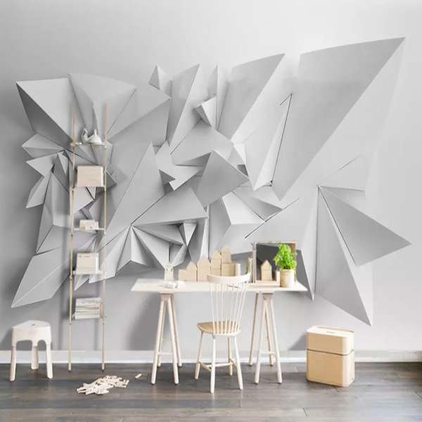 Salon Koltuk TV Arkaplan Duvar Kağıdı Duvar resmi Duvarlar 3D Beyaz Üçgen Geometrik Desen Sanat Wall için Duvar Kağıdı