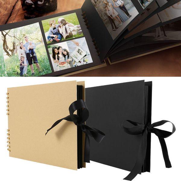 80 Sayfalar Kağıt Fotoğraf Albümleri Karalama Defteri DIY Craft Albümü Düğün Yıldönümü Hediyeleri için Scrapbooking Fotoğraf Albümü