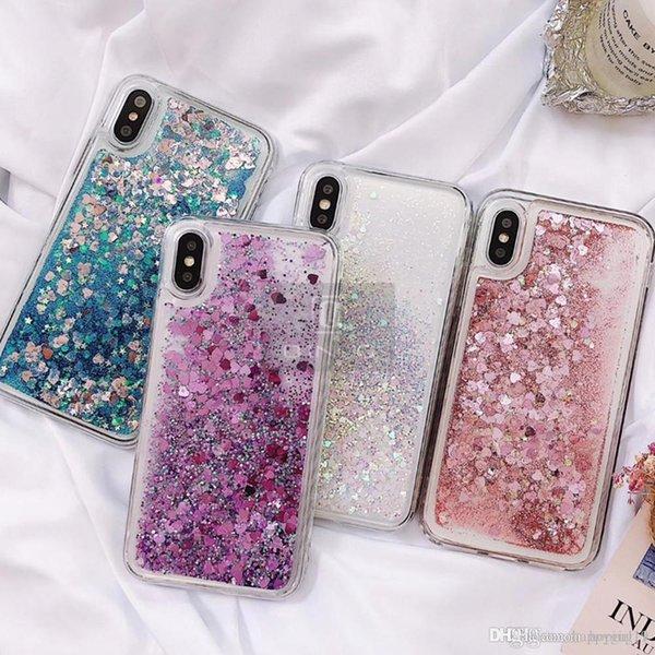 Aşk Kalp Glitter Telefon Kılıfı Için iphone X XR XS MAX Sıvı Quicksand Kapak iphone 5 5 S SE 6 S 6 7 8 Artı Bling Sequins