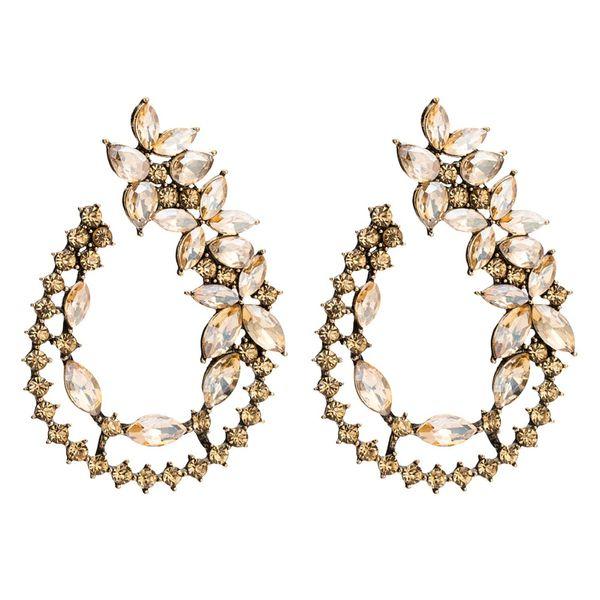 Qiaose Nouveau Design Strass Feuille En Forme de Boucles D'oreilles pour les Femmes Collection De Bijoux De Mode Boucles D'oreilles Accessoires En Gros