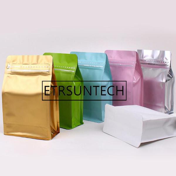 300pcs half pound volume Lamination aluminum foil ziplock packaging bag coffee powder bag eight side seal zipper bag