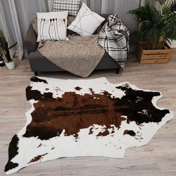 top popular 110x95cm Cow Tiger Print Area Rug Non-slip Floor Carpet Rugs Bedroom Office Livingroom Floor Mat Home decor 2021