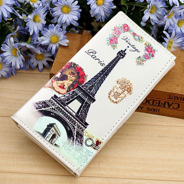 Senhora Bolsas Mulheres Carteiras Paris Torre Cartões Id Titulares Bolsas Coin Purse Longa Embreagem Moneybags Meninas Carteira Burse Sacos Notecase