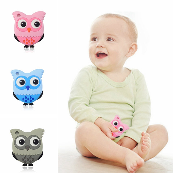 Owl Baby Pacifiers Silicone Molar Stick Cartoon Owl Soother Teether Teething Safety Child Chews Teeth Stick 3 Color to Choose HHA543