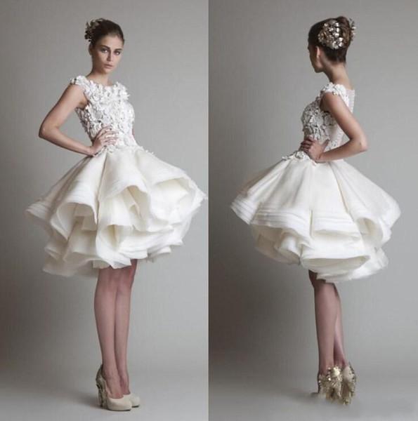 2019 Elegant Cheap krikor jabotian Short Lace Wedding Dresses Bateau Cap Sleeves Backless Knee Length A Line Beach Bridal Gowns