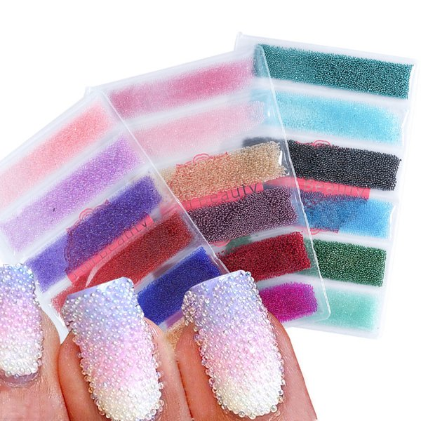 Mixed 6 Colors Mini Nail Art Beads 3d Nail Studs Decorations Rhinestones Design Manicure Charms Crystal Accessories Tr706