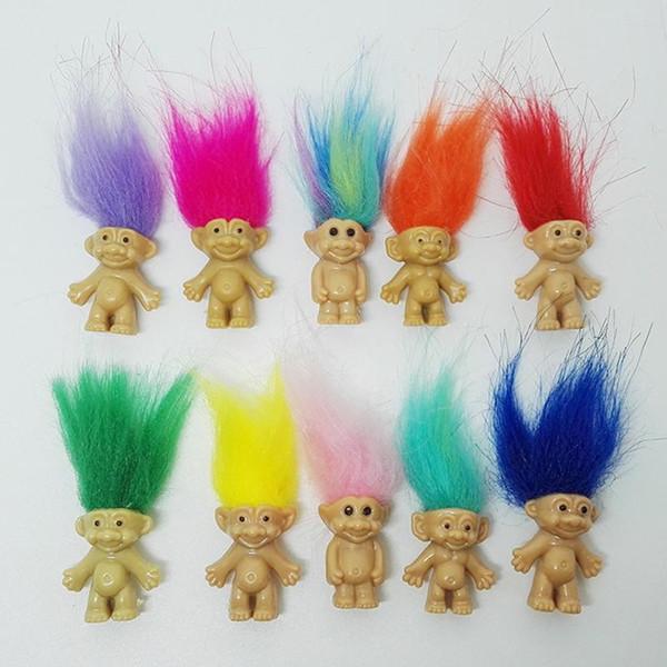 SıCAK Satış Renkli Saç Troll Bebek Aile Üyeleri Baba Anne Erkek Bebek Kız Baraj Trolls Oyuncak Hediye Mutlu Aşk Aile